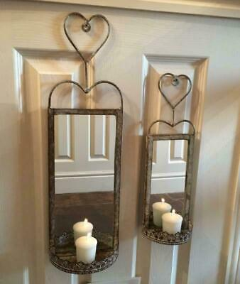 Set 2 Vintage Antique Style Metal Wall Mirrors French Rustic Chic Candle Sconce