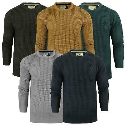 Mens Fisherman Jumper Brave Soul 'Binary' Knit Crew Neck Thick Cunky S-XL