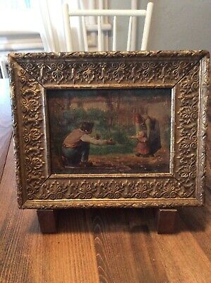"ANTIQUE FITS 4 X 6"" GOLD GILT PICTURE FRAME WOOD Ornate FINE ART FLORAL Deco Vtg"