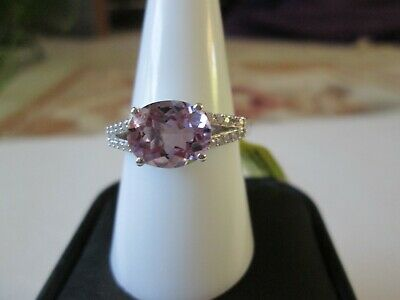 Rose De France Amethyst Platinum over Sterling Silver Ring TGW 2.61 cts.