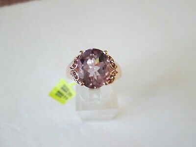 Rose De France Amethyst Rose Gold over Sterling Silv Ring (Size 7) TGW 4.44 cts