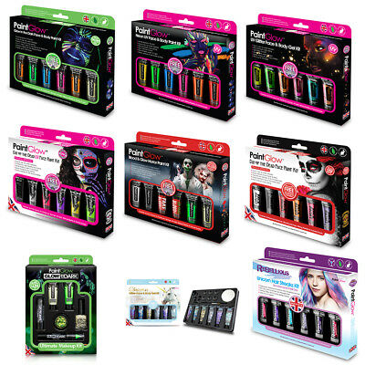 Paintglow Make Up Gift Sets Face Paint Halloween Party UV Glow Day Of The Dead