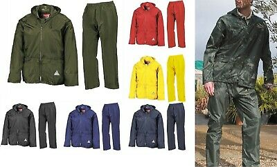 New Waterproof Heavy Duty Windproof Mens Jacket And Trousers Rain Suit + Bag