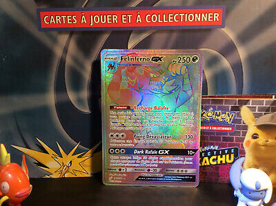 Carte Pokemon Félinferno GX 188/181 Rainbow Secrète SL9 Duo de Choc Ultra Rare