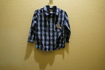 Toddler Boy's Plaid Button Front Hooded Shirt By Boyz Wear Size 4T