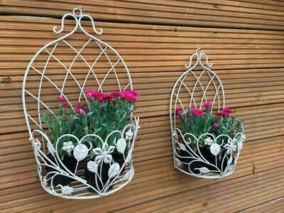 2 French Vintage Style Metal Garden Wall Planter Pot Holders Hanging Basket