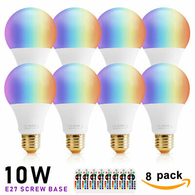 Dimmable 10W E26 RGB LED Light Bulb Multi Color Changing Memory Lamp + IR Remote