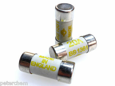 20 Amp Eaton Consumer Unit Cartridge Fuses 20A BS1361 Heating Heater - Pack of 3