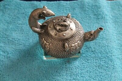 """6"""" Qianlong Old China Silver Dynasty Mouse Rat Handle Beast Teapot"""