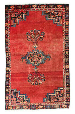 4x6 Antique Hand Knotted Carpet Oriental Red Wool Geometric Vintage Area Rug