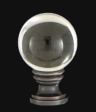 B&P Lamp Smooth Crystal Design, 30mm Ball Finial, Antique Brass Base