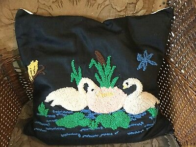 Antique vintage pillow w chenille type yarn embroidered swans cattails butterfly