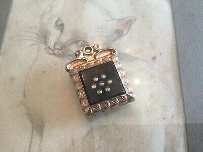 Antique vtg fob~drop~charm carnelian stone & rhinestones under glass in g.filled