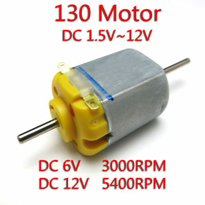 DC 1.5V 3V 5V 12V 5400RPM Micro long dual-shaft Carbon brush 130 Motor for DIY