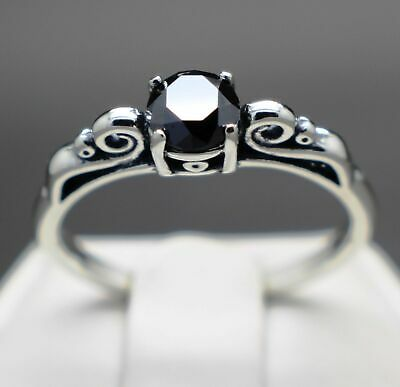 .50cts to .65cts Real Natural Black Diamond Scroll Ring AAA Grade & $450 Value +