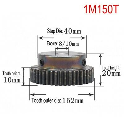 1Pcs 1Mod 150T 45# Steel Spur Pinion Gear Outer Diameter 152mm Bore 8/10mm