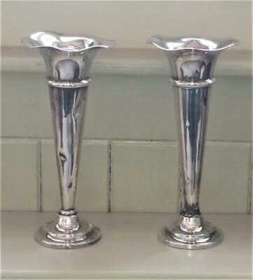 Pair of Mappin & Webb Large Silver Plated Flared Rimmed Tapered Vases C 1885