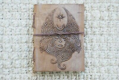 Leather Journal, Tie Wrap, Embossed Genuine Leather Diary, Meditating Shiva
