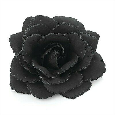 Large Black Glitter Edge Rose Flower Hair Elastic Band and Beak Clip Fascinator