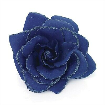 Large Royal Blue Glitter Edge Rose Flower Hair Elastic Band and Beak Clip Fas...