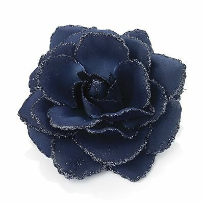 Large Navy Blue Glitter Edge Rose Flower Hair Elastic Band and Beak Clip Fasc...