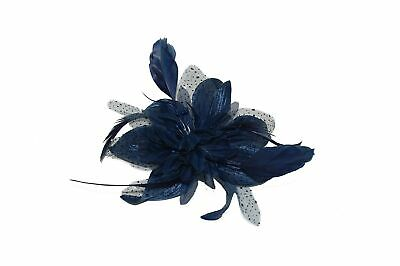 GIZZY® Ladies Navy Blue Chiffon Lily & feather Fascinator on Comb.