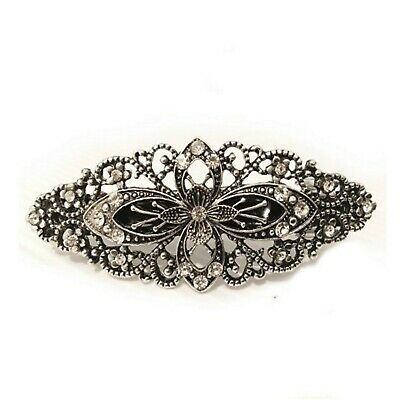 Large Antique Filigree Silver Flower Crystal Barrette Bridal Hair Clip Diamante
