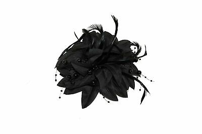 GIZZY® Ladies Black Silky Petals, Pearlised Beads & Feathers Fascinator On Ha...