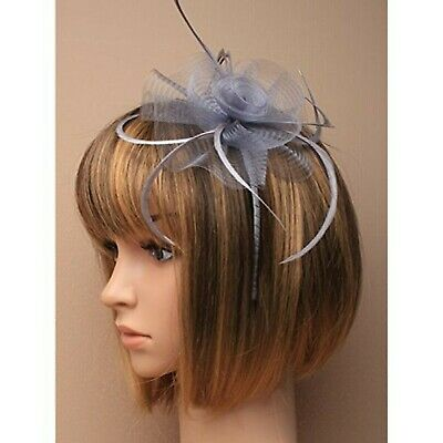 5875 Silver Grey Net Flower & Feather Fascinator on matching coloured satin c...