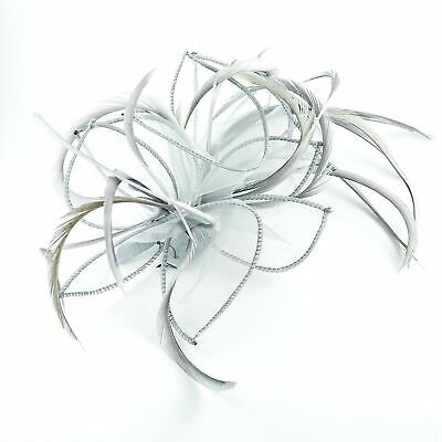 Silver Grey Chiffon & Feather Plume Fascinator on Comb, Ladies, Girls UK