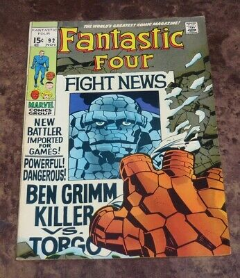 Fantastic Four #92 FN/VF Marvel Silver Age Comic Thing Mr Fantastic Jack Kirby