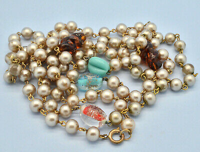 Vintage 1930s Art Deco Flapper Pearl and Glass bead long Necklace Signed GERMANY