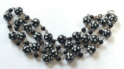 Czech Long Round Black White Polka Dots Glass Bead Necklace Vintage Deco Style