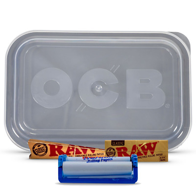 Tobacco Rolling Bundle OCB Tray,Raw cones & Raw 1 1/4 Paper,roller lid-med