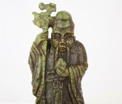 Chinese Carved Green Soapstone Figure Of Shou