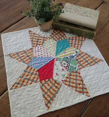 Pretty Vintage Feedsack Star Table Doll Quilt 14x14