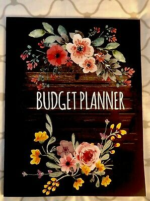 Budget Planner Organizer  Floral Watercolor 12 Month Black Book Notebook NEW