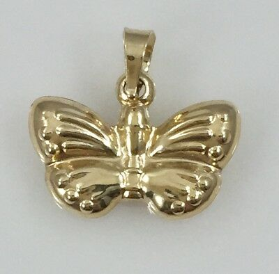 Solid 14kt Yellow Gold Butterfly 2 Sided Puffy 3D Pendant/Charm, New