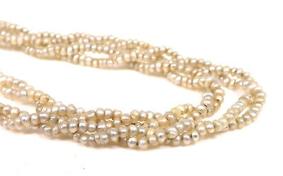 """Vintage 14K Yellow Gold Clasp 15.5"""" Double Strand 1.6mm Seed Pearl Necklace -K49"""