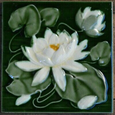 England - Antique Art Nouveau Majolica Tile C1900