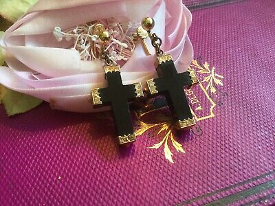 Antique Vintage Pair Earrings Gutta Percha Crosses with Gold Filled Ends