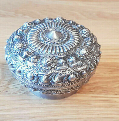 Rare Antique 19Th Century Chinese Solid Silver Container Box Signed