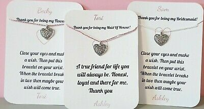PERSONALISED, Thank You Bridesmaid gift, Maid Of Honour, Bracelet, Card, Flower
