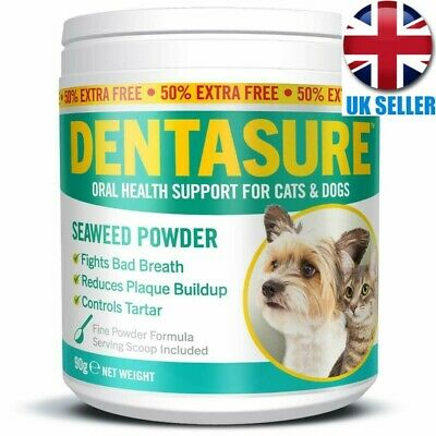 DENTASURE Plaque Off Powder For Dogs Cats Bad Breath Tooth Tartar Plaque Removal
