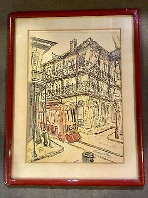 "Vintage Framed Pen & Ink Watercolor by Gypsy Lou Webb ""A Streetcar Named Desire"""