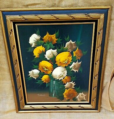 TOLLAND Still Life of YELLOW Roses, Oil Painting Framed Signed Mid Century 27X31