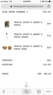 Travis Scott's Reeses Puffs Cereal, Bowl, And Spoon, FULL SET .