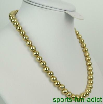 """Vintage 14K Yellow Gold Ball Bead 7.7mm Twisted Chain 16"""" Necklace j"""
