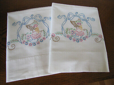 Vintage Pair of Pillowcases Embroidered Southern Belle Under A Big Blue Bow Wow