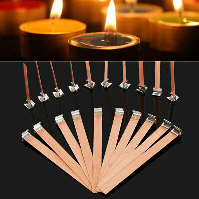 DIY Handmade Parffin Wax Craft Wooden Making Supply Candles Wick Sustainer Tab